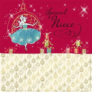 Niece Christmas Card with Gold Foiling, Contemporary Design and Red Envelope KIS31
